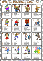 Hobbies ESL Printable Multiple Choice Tests For Kids
