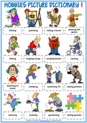 Hobbies ESL Printable Picture Dictionary Worksheets For Kids