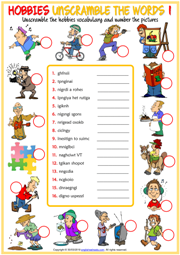 Hobbies ESL Unscramble the Words Worksheets For Kids