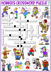 Hobbies ESL Printable Crossword Puzzle Worksheets For Kids