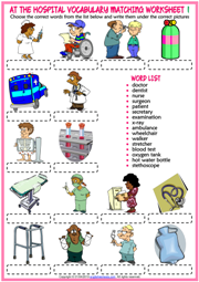 At the Hospital ESL Matching Exercise Worksheets For Kids