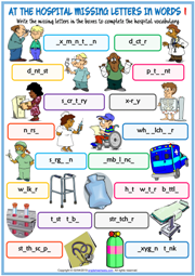 At the Hospital Missing Letters In Words Exercise Worksheets