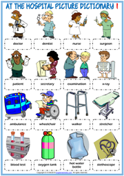 At the Hospital ESL Picture Dictionary Worksheets For Kids