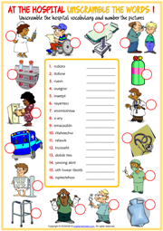 At the Hospital ESL Unscramble the Words Worksheets