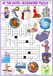 At the Hotel ESL Printable Crossword Puzzle Worksheets