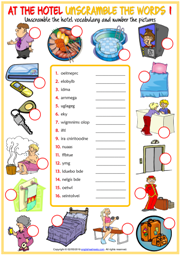 At the Hotel ESL Printable Unscramble the Words Worksheets