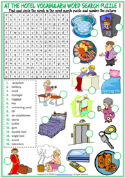 At the Hotel ESL Word Search Puzzle Worksheets For Kids