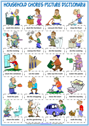 Household Chores ESL Picture Dictionary Worksheet For Kids