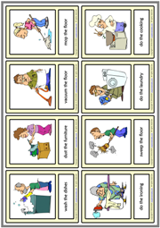 Household Chores ESL Printable Vocabulary Learning Cards