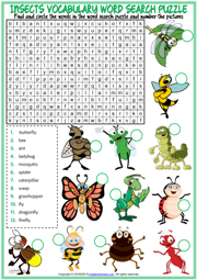 Insects ESL Printable Word Search Puzzle Worksheet For Kids