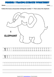 Number 1 Kindergarten Tracing Exercise Maths Worksheet