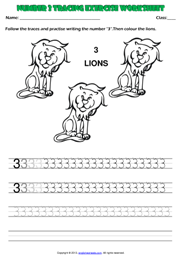 Number 3 Kindergarten Tracing Exercise Maths Worksheet