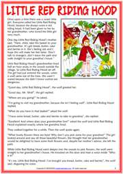 Little Red Riding Hood ESL Reading Text Worksheet For Kids