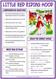 Little Red Riding Hood ESL Reading Comprehension Questions Worksheet