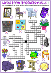 Living Room ESL Printable Crossword Puzzle Worksheets