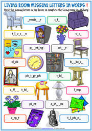 Living Room Missing Letters In Words Exercise Worksheets