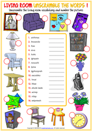 Living Room ESL Unscramble the Words Worksheets For Kids