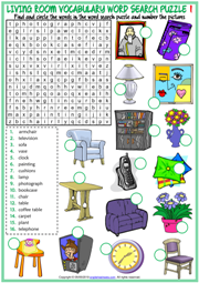 Living Room ESL Printable Word Search Puzzle Worksheets