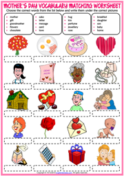 Mother's Day ESL Matching Exercise Worksheet For Kids