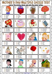Mother's Day ESL Printable Multiple Choice Test For Kids