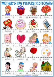 Mother's Day ESL Picture Dictionary Worksheet For Kids