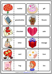 Mother's Day ESL Printable Dominoes Game For Kids