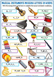 Musical Instruments ESL Missing Letters In Words Worksheet
