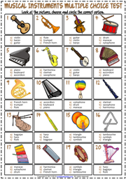 Musical Instruments ESL Printable Multiple Choice Test For Kids