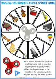 Musical Instruments ESL Printable Fidget Spinner Game