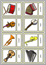 Musical Instruments ESL Printable Vocabulary Learning Cards