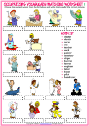 Jobs Vocabulary ESL Printable Matching Exercise Worksheets