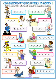Jobs Missing Letters In Words ESL Exercise Handouts