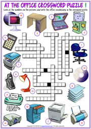 Office Objects ESL Crossword Puzzle Worksheets