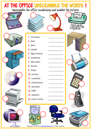 Office Objects ESL Unscramble the Words Worksheets