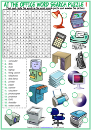 Office Objects ESL Word Search Puzzle Worksheets