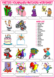 Parties ESL Vocabulary Matching Exercise Worksheet For Kids