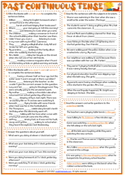 Past Continuous Tense ESL Grammar Test Worksheet