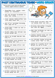 Past Continuous Tense ESL Word Order Exercise Worksheet