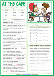 Past Simple ESL Dialogue Comprehension Exercises Worksheet
