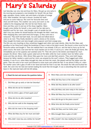 Past Simple ESL Reading Comprehension Questions Worksheet