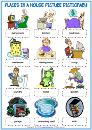 Places in a House ESL Picture Dictionary Worksheet For Kids