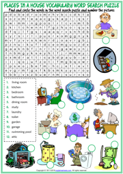 Places in a House ESL Word Search Puzzle Worksheet