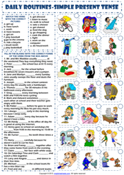 Daily Routines ESL Printable Grammar Exercises Worksheet