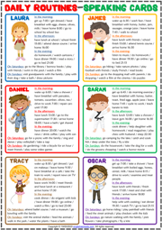 Daily Routines ESL Printable Speaking Activity Cards