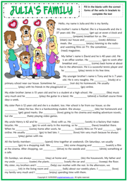 Present Simple Daily Routines ESL Gap Fill Exercise Worksheet