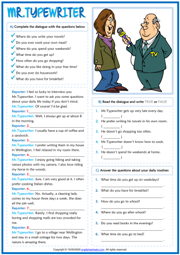 Daily Routines ESL Dialogue Comprehension Exercises Worksheet
