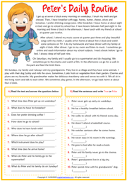 Daily Routines ESL Reading Comprehension Exercises Worksheet