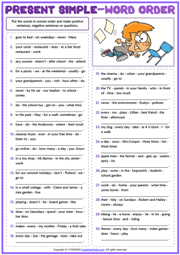 Present Simple Tense ESL Word Order Exercise Worksheet