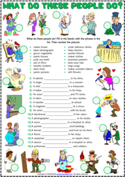 Present Simple Tense and Jobs ESL Exercise Worksheet
