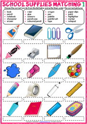 School Supplies ESL Matching Exercise Worksheets
